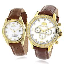 luxurman matching his hers yellow gold plated diamond watches leather band main image