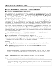 Resume Template List Of Accomplishments For Resume Examples Free
