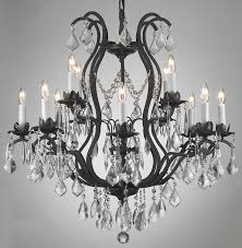 kitchen mesmerizing black wrought iron chandelier with crystals 6 enchanting and crystal chandeliers rustic light extraordinary