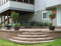 curved steps to paver patio