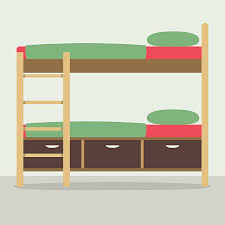 bunk beds clipart. Interesting Bunk Side View Of Bunk Bed On Floor Vector Art Illustration For Beds Clipart