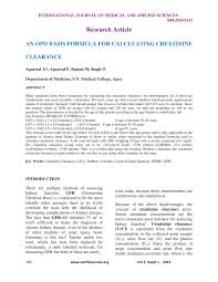pdf an opd basis formula for calculating creatinine clearance