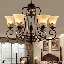 island country vintage style chandeliers flush mount ceiling pendant lamps e27 painting lighting fixture lamp glass lampshade kitchen chandelier beaded