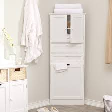 Captivating White Corner Bathroom Cabinet With Amazing Design