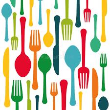 Colorful Kitchen Utensils Background Icon Stock Illustration