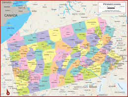 pennsylvania wall map  political