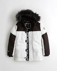 hollister faux fur lined parkas mens white 310usqrj