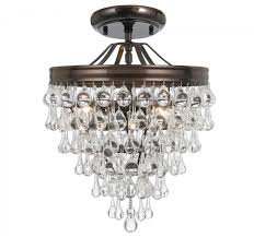 crystorama 130 vz ceiling calypso 3 light crystal semi flush mount in vibrant bronze with clear glass drops crystal