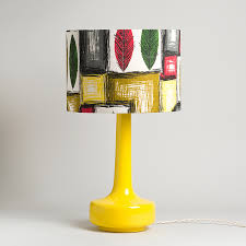 Only The Shade Bell Bottom Yellow Table Lamp With Vintage Leaf Barkcloth Shade