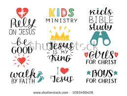 Christian Quotes For Kids Best Of Set 24 Hand Lettering Christian Quotes Stock Vector 102434240426