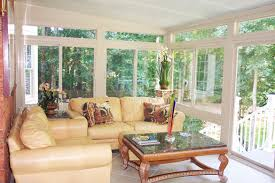 Interior:Small Sunroom Interior Design With Cream Leather Sofa Set And  Window Wall Decor Ideas