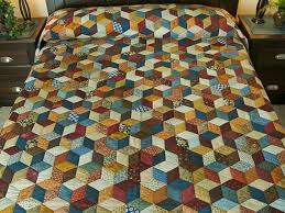 Tumbling Blocks Quilt -- exquisite smartly made Amish Quilts from ... & Tumbling Blocks King Size Bed Quilt Photo ... Adamdwight.com