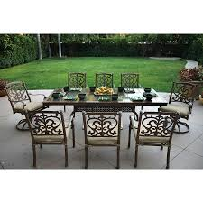 darlee santa barbara 9piece mocha aluminum patio dining set with sesame cushions 9 piece patio dining set83