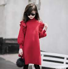 Váy len dáng dài diềm vai bé gái 5-18 tuổi | undefined