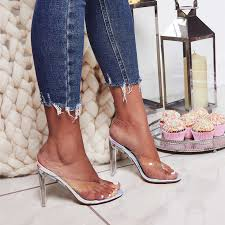 2019 Summer Women Crystal 11cm High Heels Mules Slides Lady ...