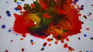Hd 1080 Drops Of Paint Of Different Red Orange Blue Green