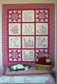 48 best Quilts: Redwork images on Pinterest | Beach waves ... & Picture of Love Me, My Cat RedWork Quilt. Nice redwork setting for 8 blocks Adamdwight.com