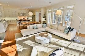 open concept floor plans. Stunning Design Of The Living Room Areas With White L Shape Sofa Ideas Rounded Open Concept Floor Plans