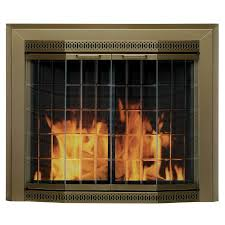pleasant hearth grandior bay antique brass medium bi fold bay fireplace doors with clear tempered