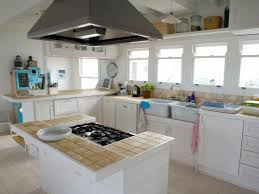White Tiled Kitchen Floor White Tile Countertop 3 Bowl Ceramic Sink Wooden Cabinets Glass