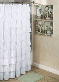white extra long fabric shower curtain