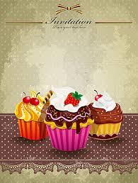 Cartoon Vector Cupcakes Cartel Material De Antecedentes Antecedentes