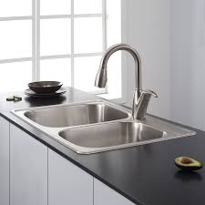 kraus ktm32 33 inch topmount 60 40 double bowl 18 gauge stainless steel kitchen sink com