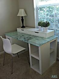 Desk glass top White Beautiful Glasstopped Ikea Desk Hack Pinterest Beautiful Glasstopped Ikea Desk Hack Ikea Hack Ideas For Studio