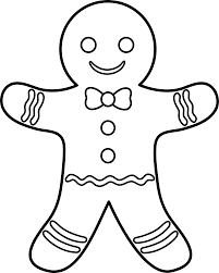 Gingerbread Man Outline Coloring Page Navidad