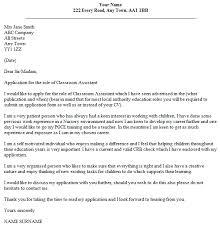 Classroom Assistant Cover Letter Example Lettercv Com