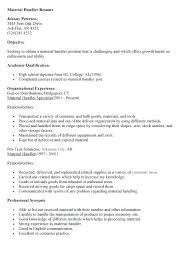 material handler resume sample material handler resume cover letter material  handler resume johnny material handler specialist