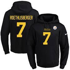 Hoodie Football Number No Pullover Men's gold 7 Ben Black Steelers Pittsburgh Roethlisberger amp; Name