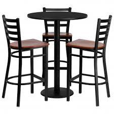 30 round black laminate table set with 3 ladder back metal bar stools cherry wood seat