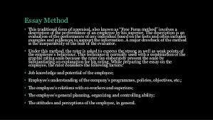 tradition method of performance appraisal essay method • this traditional