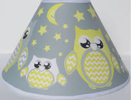 grey and yellow owl lamp shade children s yellow owl nursery room decor