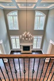 Two Story Family Room with Coffered Ceilings.