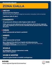 Regione Liguria - 🟡 DA OGGI LA LIGURIA IN ZONA GIALLA Da oggi, lunedì 1  febbraio, la Liguria è in zona gialla. Ecco le regole da rispettare per il  contenimento del coronavirus 👇