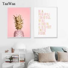 <b>TAAWAA</b> Golden Pineapple Wall Art Canvas Posters Prints ...