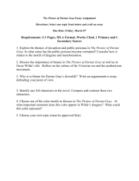 the portrait of dorian gray discussion questions pages  dorian gray essay assignment