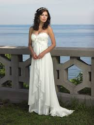 Lace Detailed Bodice Strapless Ivory Ruffled Long Empire Beach