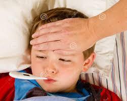 Krankes Kind Junge Schlafzimmer Kind Temperatur Stockfindde