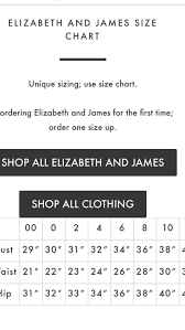 Elizabeth And James Pants Size Chart Pants Images And