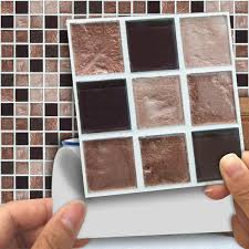<b>Funlife</b> 10*10cm Brown Colored Mosaic <b>Self Adhesive Waterproof</b> ...