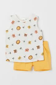 <b>Комплект 2</b> предмета из хлопка - Желтый/Животные - | H&M RU