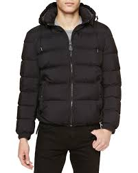 burberry basford quilted puffer jacket with detachable hood black