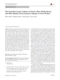men ejaculate larger volumes of semen more motile sperm and more men ejaculate larger volumes of semen more motile sperm and more quickly when exposed to images of novel women pdf available