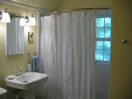 Bathroom: Curved Shower Curtain Rod In Silver With White Curtain ...
