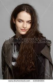 portrait of pretty with perfect clean skin and natural makeup long dark hair