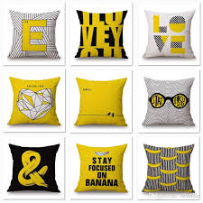 love heart cushion cover banana pillow cover yellow and black thin linen pillow cases 45x45cm kids favor bedroom sofa decoration patio pillows on 24x24