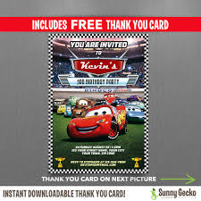 Disney Cars Lightning Mcqueen Birthday Invitation With Free Editable